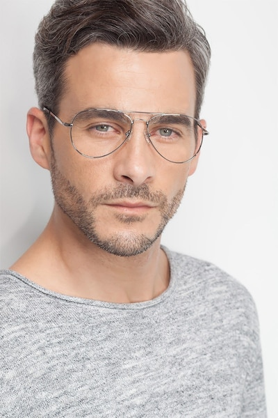 Nantes Silver Metal Eyeglass Frames for Men from EyeBuyDirect, Front View