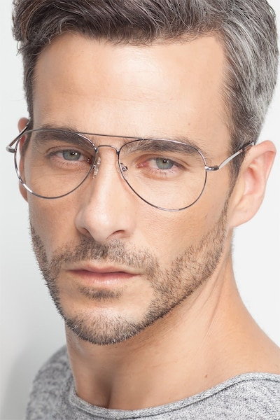 Nantes Silver Metal Eyeglass Frames for Men from EyeBuyDirect