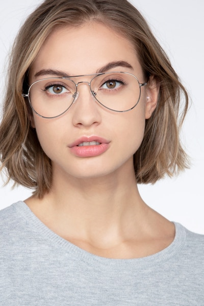 Nantes Silver Metal Eyeglass Frames for Women from EyeBuyDirect, Front View