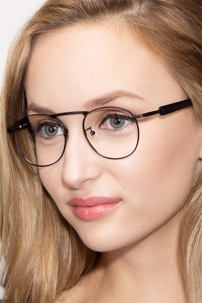 Tarantino Matte Black Metal Eyeglass Frames for Women from EyeBuyDirect