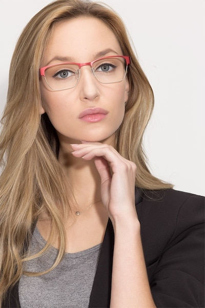 Admire Matte Burgundy Metal Eyeglass Frames for Women from EyeBuyDirect, Front View