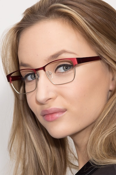 Admire Matte Burgundy Metal Eyeglass Frames for Women from EyeBuyDirect