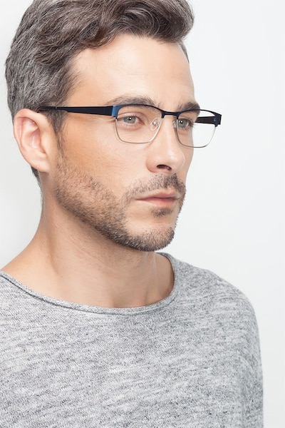 Admire Navy Metal Eyeglass Frames for Men from EyeBuyDirect, Front View