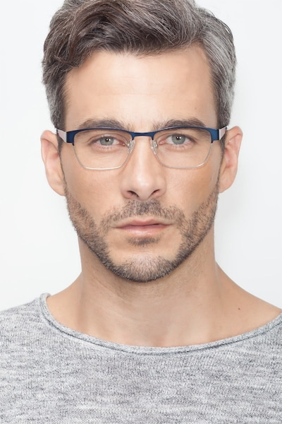 Admire Navy Metal Eyeglass Frames for Men from EyeBuyDirect