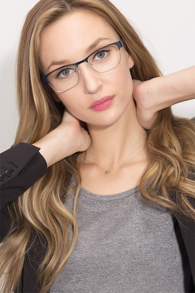 Admire Navy Metal Eyeglass Frames for Women from EyeBuyDirect, Front View