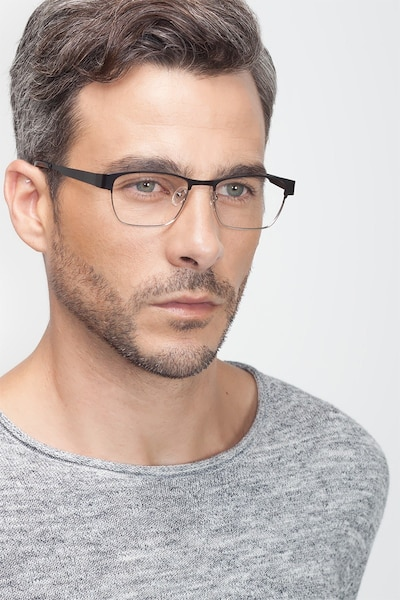 Admire Black Silver Metal Eyeglass Frames for Men from EyeBuyDirect, Front View