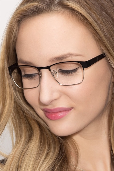 Admire Black Silver Metal Eyeglass Frames for Women from EyeBuyDirect