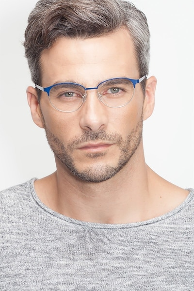 Mamba Navy Silver Metal Eyeglass Frames for Men from EyeBuyDirect, Front View