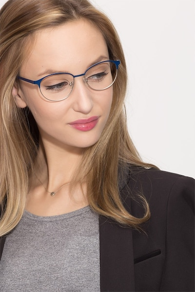 Mamba Navy Silver Metal Eyeglass Frames for Women from EyeBuyDirect, Front View