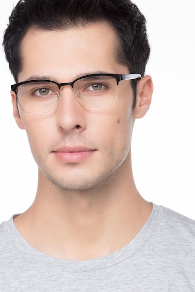 Sublime  Black Golden  Metal Eyeglass Frames for Men from EyeBuyDirect, Front View