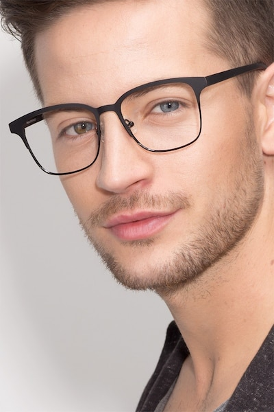 Intense Matte Black Metal Eyeglass Frames for Men from EyeBuyDirect