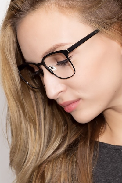 Intense Matte Black Metal Eyeglass Frames for Women from EyeBuyDirect