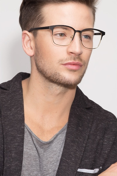 Intense Matte Black/Golden  Metal Eyeglass Frames for Men from EyeBuyDirect, Front View