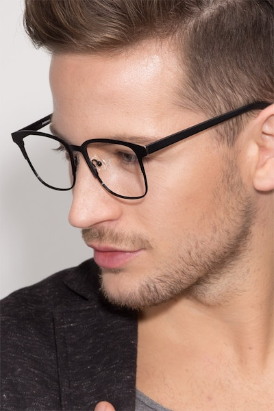 Intense Matte Black/Golden  Metal Eyeglass Frames for Men from EyeBuyDirect