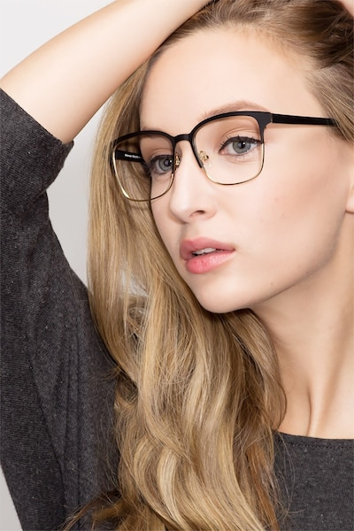 Intense Matte Black/Golden  Metal Eyeglass Frames for Women from EyeBuyDirect, Front View