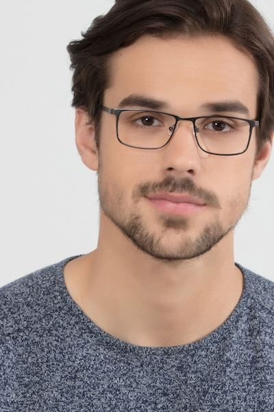 Clinton  Dark Gunmetal  Metal Eyeglass Frames for Men from EyeBuyDirect