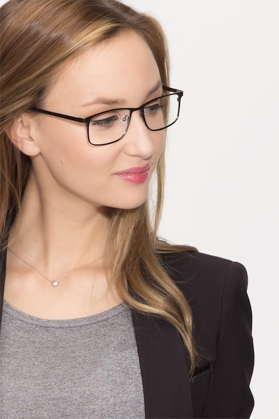Clinton  Dark Gunmetal  Metal Eyeglass Frames for Women from EyeBuyDirect, Front View