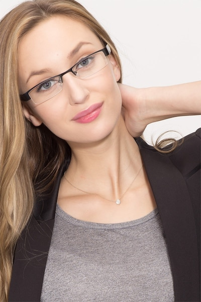 Bud Black Metal Eyeglass Frames for Women from EyeBuyDirect, Front View