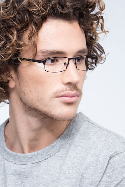 Thomas Matte Black Metal Eyeglass Frames for Men from EyeBuyDirect, Front View