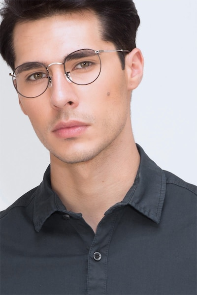 Daydream Black Silver Metal Eyeglass Frames for Men from EyeBuyDirect, Front View
