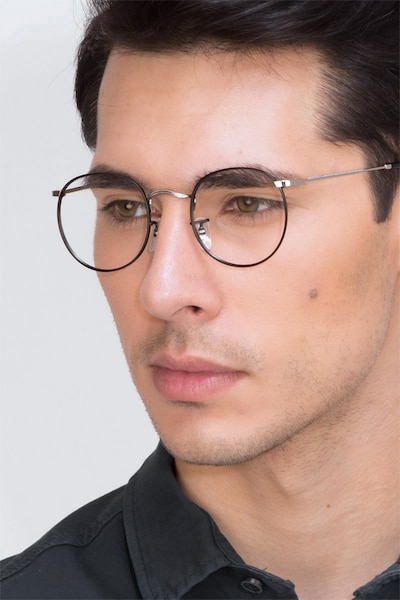 Daydream Black Silver Metal Eyeglass Frames for Men from EyeBuyDirect