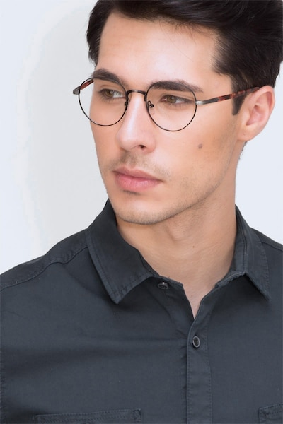 Fitzgerald Black & Gunmetal Metal Eyeglass Frames for Men from EyeBuyDirect, Front View