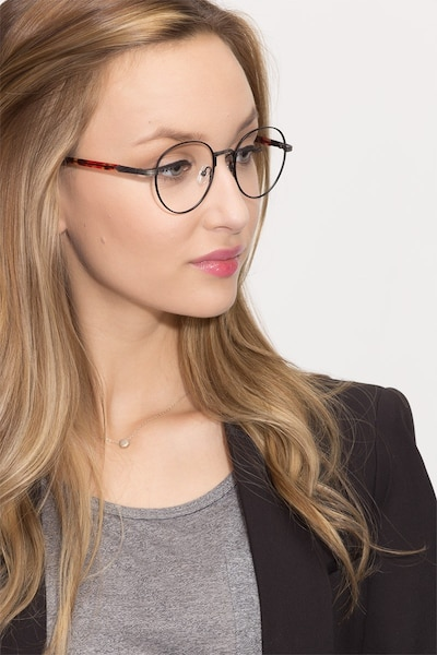 Fitzgerald Black & Gunmetal Metal Eyeglass Frames for Women from EyeBuyDirect, Front View