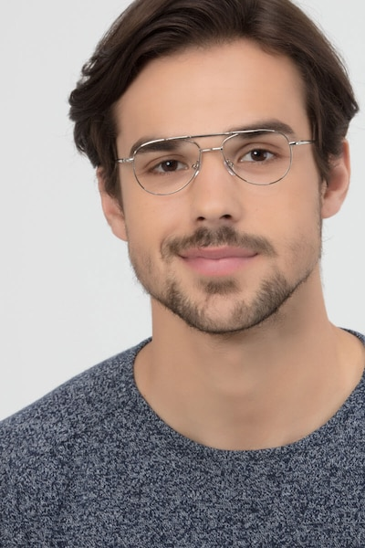 Tasker Silver Metal Eyeglass Frames for Men from EyeBuyDirect, Front View