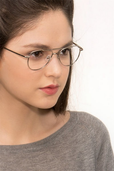 Tasker Silver Metal Eyeglass Frames for Women from EyeBuyDirect, Front View