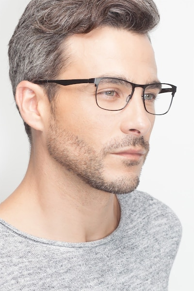 Bethnal Green Black Metal Eyeglass Frames for Men from EyeBuyDirect, Front View