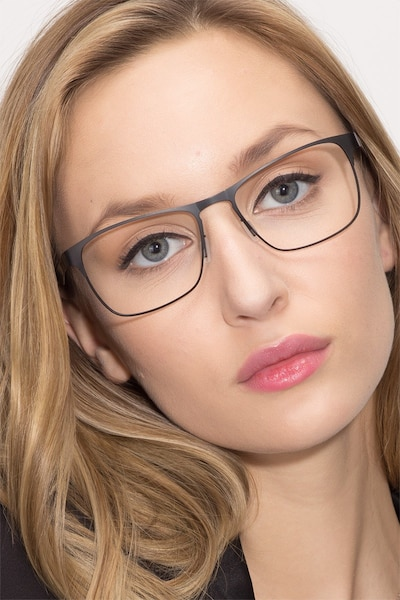 Bethnal Green Black Metal Eyeglass Frames for Women from EyeBuyDirect