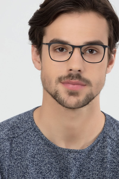 Whisper Matte Black Metal Eyeglass Frames for Men from EyeBuyDirect, Front View