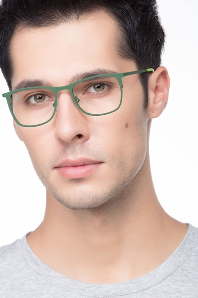 Whisper Matte Green Metal Eyeglass Frames for Men from EyeBuyDirect, Front View