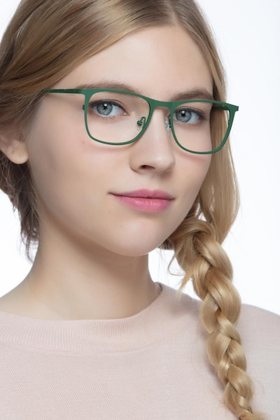 Whisper Matte Green Metal Eyeglass Frames for Women from EyeBuyDirect, Front View