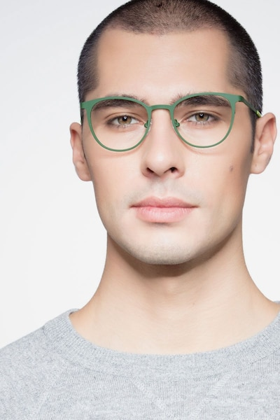 Reunion Matte Green Metal Eyeglass Frames for Men from EyeBuyDirect, Front View