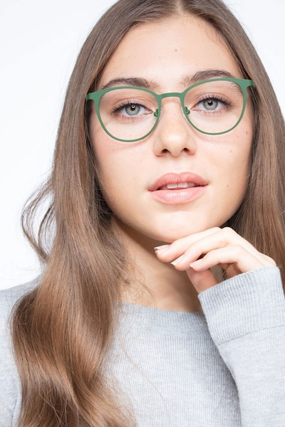 Reunion Matte Green Metal Eyeglass Frames for Women from EyeBuyDirect, Front View