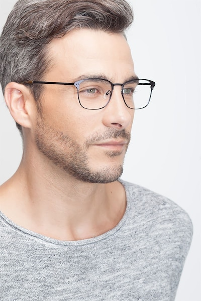 Arcadian Navy Metal Eyeglass Frames for Men from EyeBuyDirect, Front View