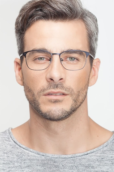 Arcadian Navy Metal Eyeglass Frames for Men from EyeBuyDirect