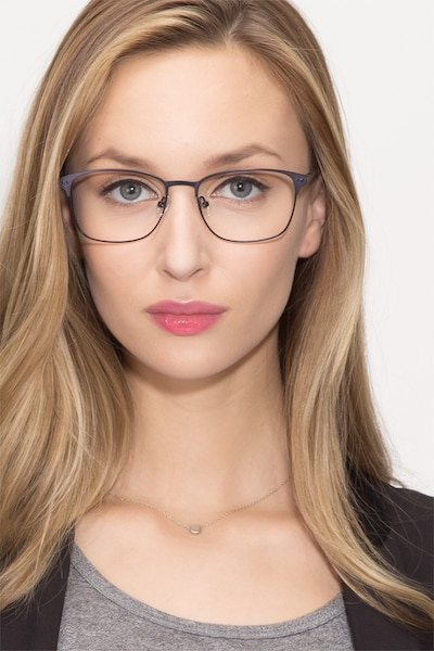 Arcadian Navy Metal Eyeglass Frames for Women from EyeBuyDirect, Front View