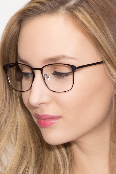 Arcadian Navy Metal Eyeglass Frames for Women from EyeBuyDirect