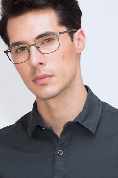 Lines Gunmetal Metal Eyeglass Frames for Men from EyeBuyDirect, Front View