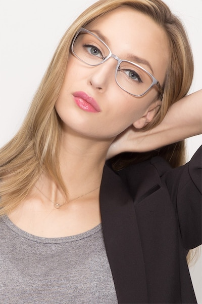 Lines Gunmetal Metal Eyeglass Frames for Women from EyeBuyDirect