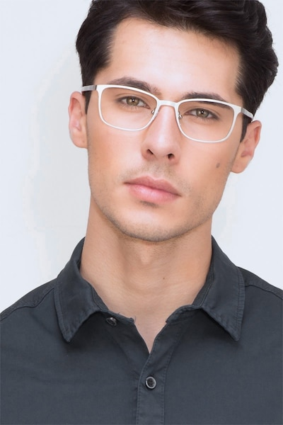 Lines Silver Metal Eyeglass Frames for Men from EyeBuyDirect, Front View