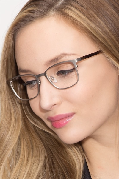 Lines Silver Metal Eyeglass Frames for Women from EyeBuyDirect
