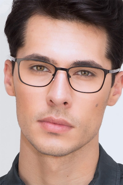 Lines Black Metal Eyeglass Frames for Men from EyeBuyDirect