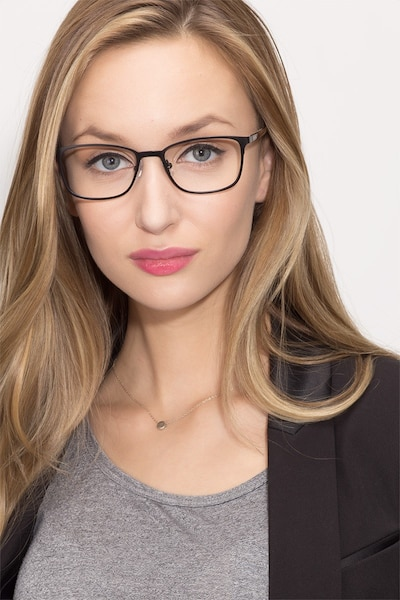 Lines Black Metal Eyeglass Frames for Women from EyeBuyDirect, Front View