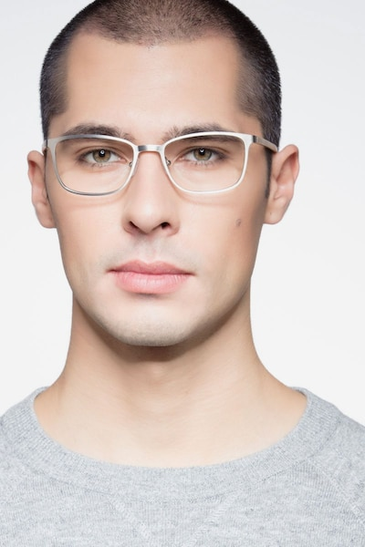 Lines Light Gunmetal Metal Eyeglass Frames for Men from EyeBuyDirect, Front View