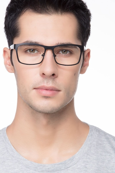 Assumption Black Metal Eyeglass Frames for Men from EyeBuyDirect, Front View