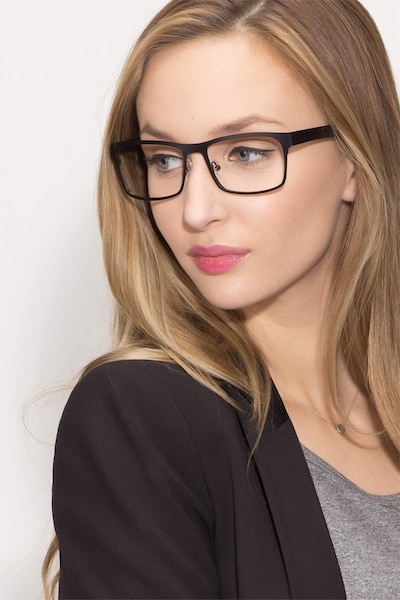 Assumption Black Metal Eyeglass Frames for Women from EyeBuyDirect, Front View