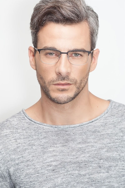 Manchester Black Silver Metal Eyeglass Frames for Men from EyeBuyDirect, Front View